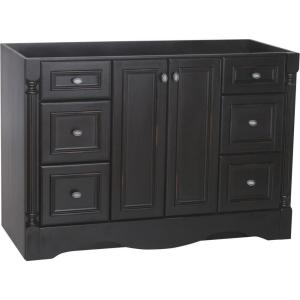 St. Paul Valencia 48 in. W x 21.375 in. D x 34 in. H Vanity Cabinet Only in Antique Black