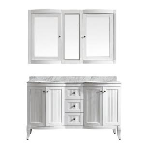 Vinnova Verona 60 inch W x 23 inch D x 35 inch H Vanity in White with Marble... by Vinnova