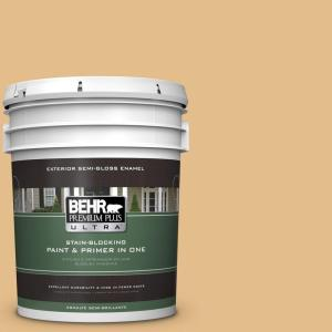 BEHR Premium Plus Ultra 5-gal. #330D-4 Warm Muffin Semi-Gloss Enamel Exterior Paint by