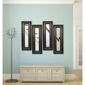 15 inch x 43 inch Stepped Antiqued Vanity Mirror (Set of 4-Panels) by