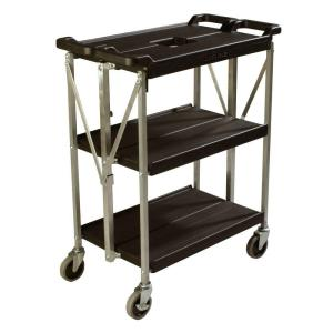 Carlisle 350 lb. Black Small Fold 'N Go Heavy-Duty 3-Tier Collapsible Utility Cart and Portable Service... by