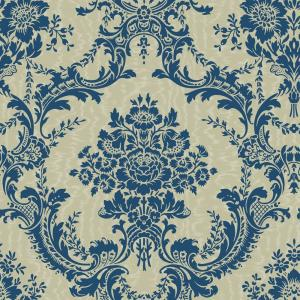 The Wallpaper Company 56 sq. ft. Blue and Taupe Mid Scale Damask on Moire Background Wallpaper
