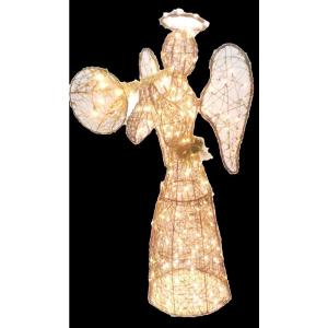 60 in. 250-Light Brown PVC Grapevine Angel