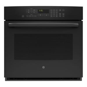 single electric wall oven with steam plus convection in black