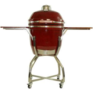 Hanover 19 inch Ceramic Kamado Grill in Red with Stainless Steel Cart and... from Charcoal Grills