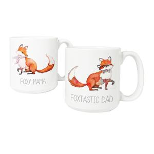Foxtastic Dad and Foxy Mama 20 oz. Large Coffee Mugs (Set of 2) by