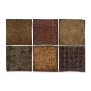 Global Direct 14 in. x 14 in. Concaved Wood and Copper Wall Art (6-Piece)-DISCONTINUED