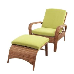 Martha Stewart Living Charlottetown Brown All Weather Wicker Patio Chaise Lounge With Green Bean
