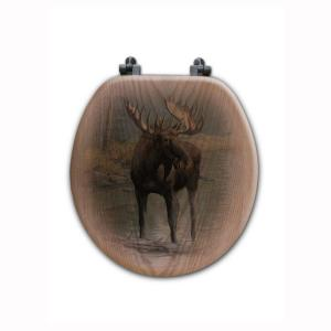 Quiet Water Moose Round Closed Front Wood Toilet Seat in Oak Brown