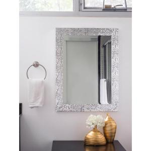 Click here to buy Blue Harbor Collection 33.25 inch x 25.25 inch Silver Mosaic Beveled Mirror.