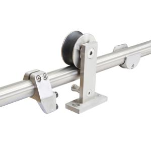 Calhome top mount 79 in stainless steel barn style sliding door track and hardware set sdh wdn - Barn door track hardware home depot ...