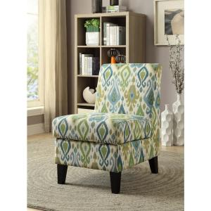 ACME Furniture Ollano II Green Pattern Accent Chair with Storage by