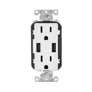 Leviton 15 Amp Decora Combination Duplex Receptacle and USB Charger, White by