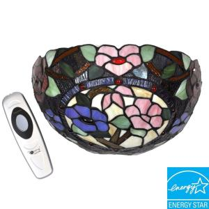 Its Exciting Lighting Wall Mount Stained Glass Floral with Jewels ...