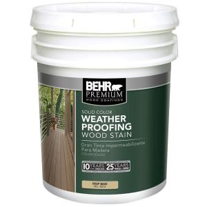 BEHR Premium 5-Gal. Deep Base Solid Color Wood Stain Weatherproofing