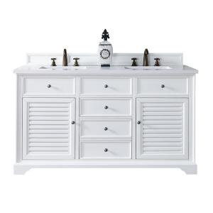 James Martin Signature Vanities Savannah 60 inch W Double Vanity in Cottage White with Quartz Vanity Top in White with... by