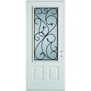 Stanley Doors 36 inch x 80 inch Silkscreened Glass 3/4 Lite 2-Panel Painted White Steel... by