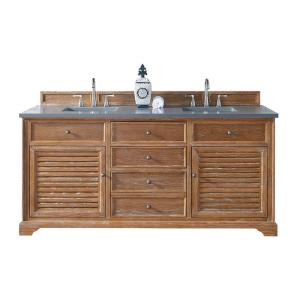 James Martin Signature Vanities Savannah 72 inch W Double Vanity in Driftwood with Quartz Vanity Top in Gray with White... by