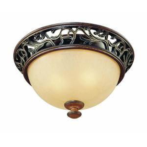 Hampton Bay 2-Light Caffe Patina Flush-Mount Ceiling Fixture