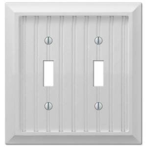 Hampton Bay Cottage 2 Toggle Wall Plate - White Composite Wood
