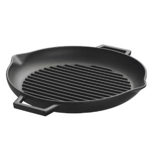 Lava ECO 15 inch x 13-1/4 inch Enameled Cast Iron Round Grill Pan in Slate Black by
