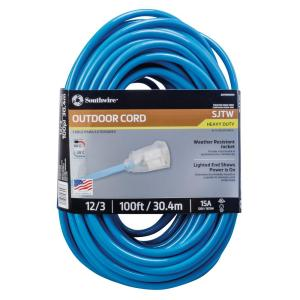 Southwire 100 ft. 12-3 SJTW Neon Blue Extension Cord