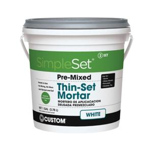 custom building products simpleset white 1 gal pre mixed thin set mortar sttsw1 the home depot