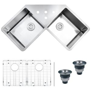 Corner Double Bowl Kitchen Sinks Kitchen The Home Depot