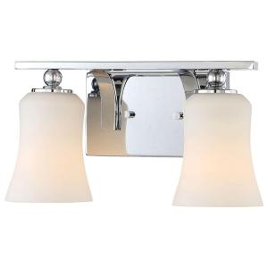 Home Decorators Collection 2-Light Chrome Square Bath Vanity Light with Etched White Glass-15332 ...