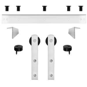 Steves sons stainless steel decorative barn door track and straps hardware - Barn door track hardware home depot ...
