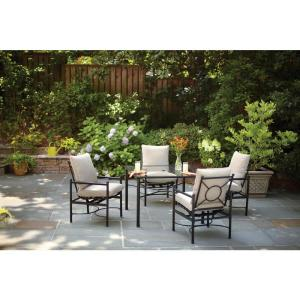 Hampton Bay Barnsley 5-Piece Patio Dining Set with Textured Silver