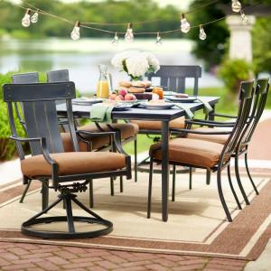 Click here to buy Hampton Bay Oak Heights 7-Piece Patio Dining Set with Cashew Cushions.
