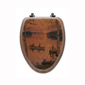 Lakeland Sunset Elongated Closed Front Wood Toilet Seat in Oak Brown