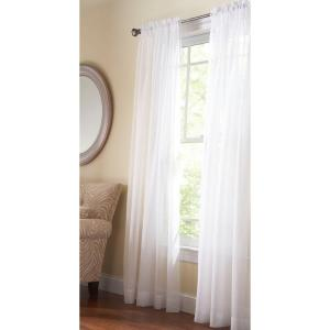 Sheer Pure White Fine Sheer Rod Pocket Curtain