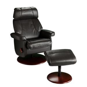 Southern Enterprises Petersburg Black Synthetic Leather Reclining Chair with Ottoman by