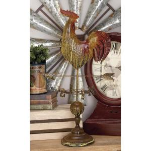 28 inch Rooster Weather Vane Decorative Sculpture in Sandy Brown and Brick Red