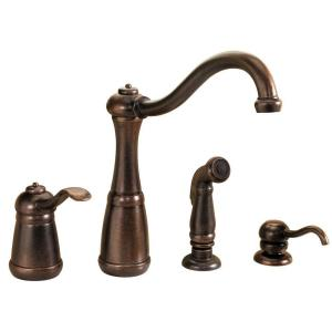 kitchen faucet with side sprayer and soap dispenser in rustic bronze