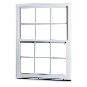 American Craftsman 2301 Single Hung Vinyl Windows, 36 in. x 60 in., White, with LowE3 Insulated Glass, Argon Gas, Grilles and Screen