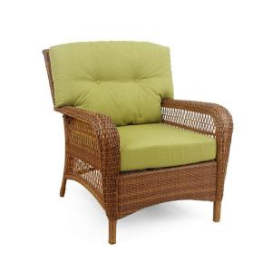 Martha Stewart Living Charlottetown 2012 Brown All-Weather Wicker Patio Lounge Chair with Green Bean Cushions