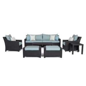 RST Brands Deco 8-Piece All-Weather Wicker Patio Sofa and Club Chair Conversation Set with... by