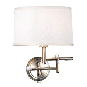Home Decorators Collection 1-Light White Wall Pivoter Swing-Arm Lamp by