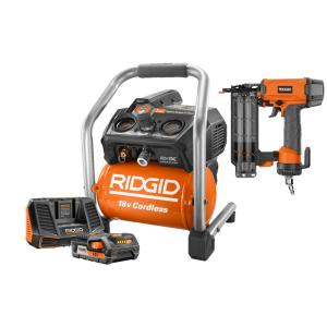 Ridgid 18-Volt 1 Gal. Hand Carry Air Compressor and 2-1/8 inch 18-Gauge Brad...