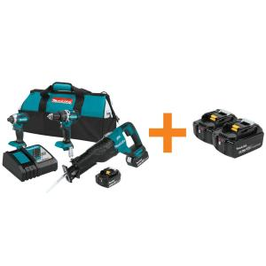 Makita 18-Volt LXT Lithium-Ion Cordless Combo Kit (3-Tool) with Bonus 18-Volt LXT... by