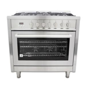 Cosmo 36 inch 3.8 cu. ft. Dual Fuel Range with Convection Oven in Stainless Steel by