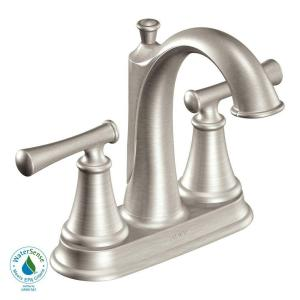 MOEN Telford 4 in. 2-Handle Mid-Arc Bathroom Faucet in Spot Resist Brushed Nickel