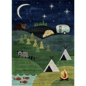 Momeni Lil Mo Whimsy Camping Fun Blue 8 ft. x 10 ft. Indoor Kids Area Rug by Momeni