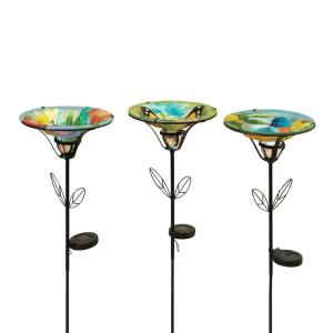 35.5 inch Solar Lighted Birdbath with Fused Metal and Glass (3-Pack) by