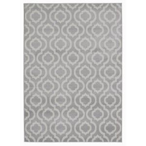 Jasmin Collection Grey and Beige 7 ft. 10 inch x 9 ft. 10 inch Trellis Area Rug by