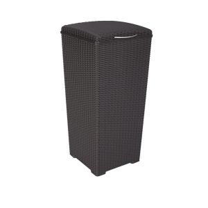 Keter 30 Gal. Brown Wicker Style Plastic Trash Can by