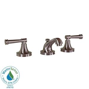 Martha Stewart Living Wayland 8 in. Widespread 2-Handle Low-Arc Bathroom Faucet in Brushed Nickel